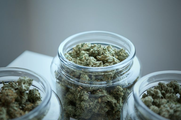 Chamber of cannabis jars of weed