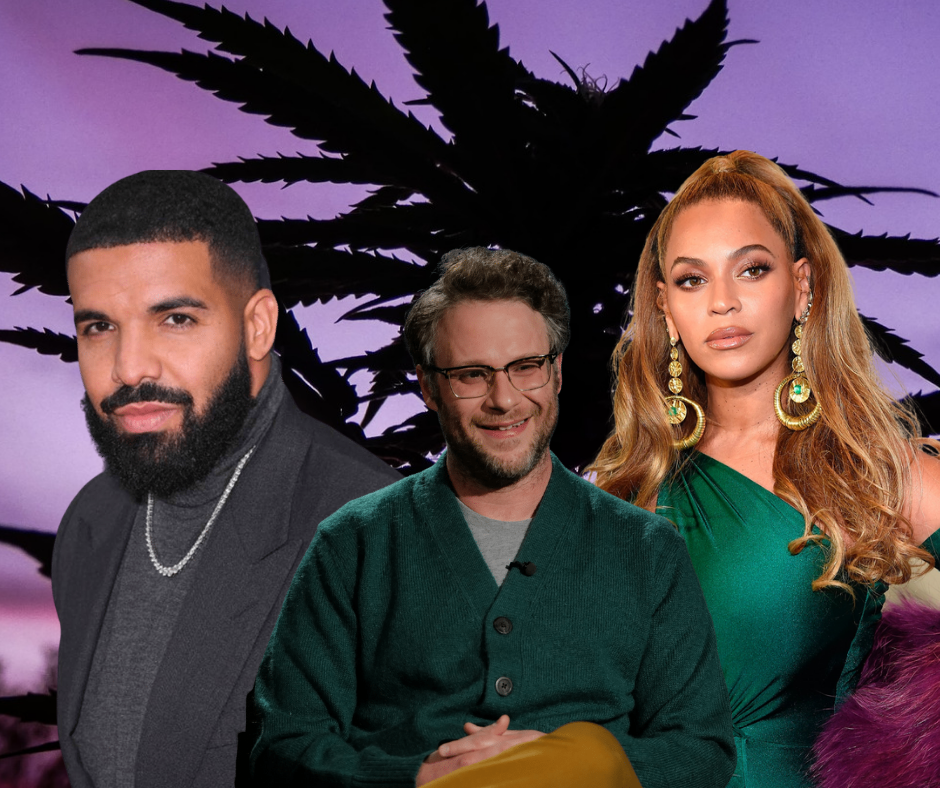 celebrities in front of cannabis leaf Beyonce, Drake, and Seth Rogen purple plant