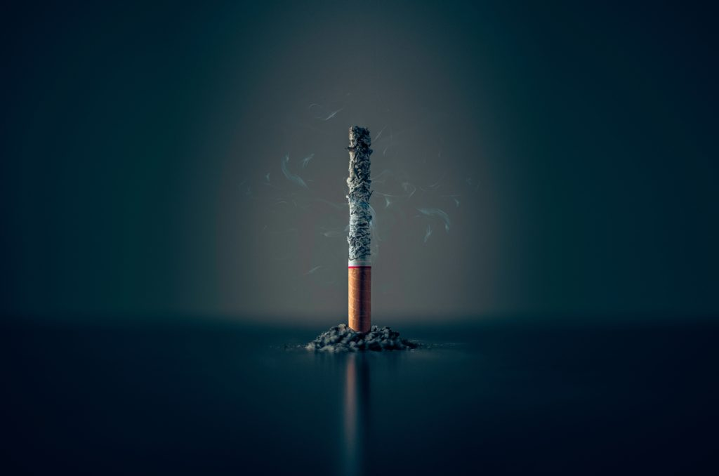 cigarette burnt to ashes